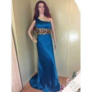 Sherri Hill Sz 2 Teal Leopard Print Prom Dress